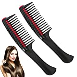 Detangling Roller Combs Hair Comb:2Pcs Wide Tooth Detangling Roller Comb for Women,Integrated Roller Hair Color Comb,Professional Hair Dyeing Comb Salon Barber Hair Dye Styling Accessories(Black)