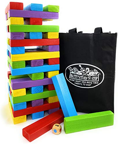 Matty's Big Mix-Up 51pc Giant Colorful Wooden Tumble Tower Deluxe Stacking Game with Storage Bag - 2...