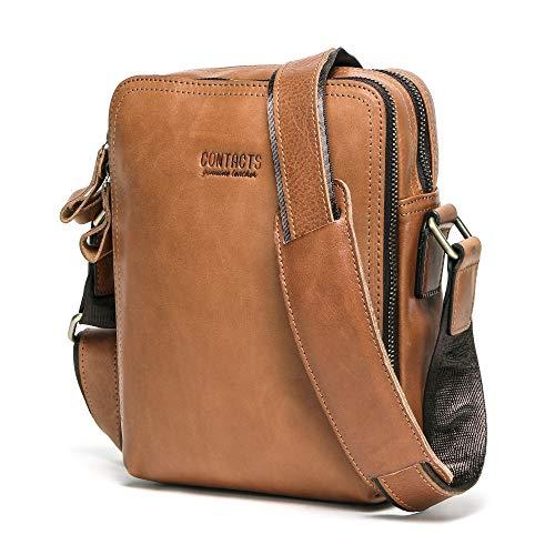 Contacts Echtes Leder Mens Mini Messenger Laptop Crossbody Tasche Tote Handtasche Braun