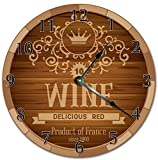 "PotteLove 12"" Vintage Wine Barrel Head Design Clock Wooden Decorative Round Wall Clock"