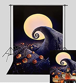 TJ Halloween Horror Nights Pumpkin Photography Backdrop Hallowmas Tombstones Full Moon Photo Background Baby Shower Birthday Party Banner Studio Booth Props Vinyl 5x7ft