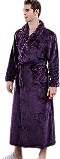 Wofupowga Mens Sleepwear Fall//Winter Hooded Belted Flannel Bathrobe Robes