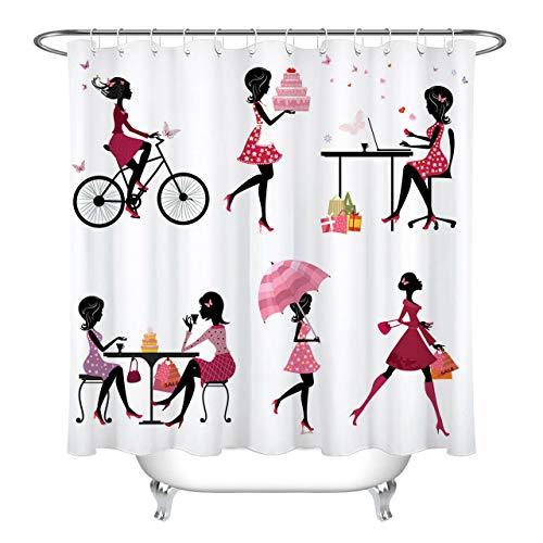 JHTRSJYTJ Schmetterlings-Schönheits-Mädchen-Geburtstags-Kuchen geht Duschvorhang ist geeignet für Badezimmer,Polyester wasserdicht,12Haken,180X200cm,Wohnkultur kaufen