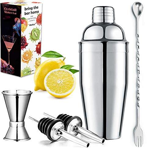 Cocktail Shaker - Martini Drink Shaker 25oz Bar Shaker,18/8 Stainless Steel Rustproof Drink Mixer Batender Kit Built-in Strainer Double Measuring Jigger, Mixing Spoon, Liquor Pourers