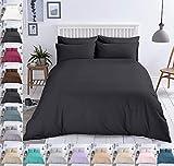 Bettwäsche Baumwolle Renforce Reißverschluss Größe Design 2-3 teilig Wählbar, Farbe Bettwäsche:Schwarz, Größe:155 x 220 cm
