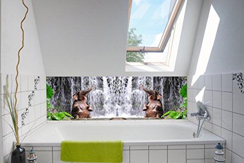TiDis Neue Atmosphäre im Bad mit unserer Badrückwand/Deko 180x55cm (BxH) Motiv:Elefant unterm Wasserfall