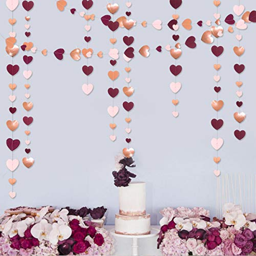 52 Ft Valentine's Day Burgundy Pink Rose Gold Party Decorations Love Heart Hanging Paper Garland Streamer Banner for Bachelorette Engagement Wedding Birthday Bridal Shower Anniversary Party(4pack)