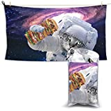 YUYUTE Badetuch, Beach Towels Space Astronaut Cat Eating Burger Hand Towel Sheets Bath Linen Fast Dry Blanket Outdoor Travel Large Pool Swimsuits Covers Fashion Bathroom Washcloths Yoga Mat for Foot