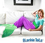 The Original Blankie Tails Mermaid Tail Blanket (Youth Size), Purple/Seafoam