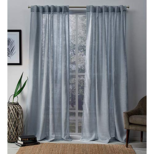 Exclusive Home Curtains Bella Window Curtain Panel Pair with Hidden Tab Top, 54x84, Melrose Blue, 2 Count
