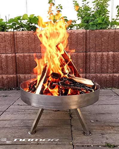 NAMOR© Edelstahl Feuerschale Feuerstelle Feuerkorb Grillschale Lagerfeuer | Handmade in Germany | Edelstahl Feuerschale Ø 70 cm