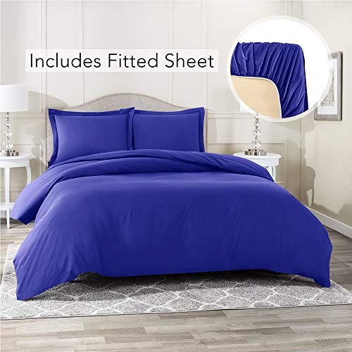 Nestl Bedding Duvet Cover with Fitted Sheet 3 Piece Set - Soft Double Brushed Microfiber Hotel Collection - Comforter Cover with Button Closure, Fitted Sheet, 1 Pillow Sham, Twin XL - Royal Blue