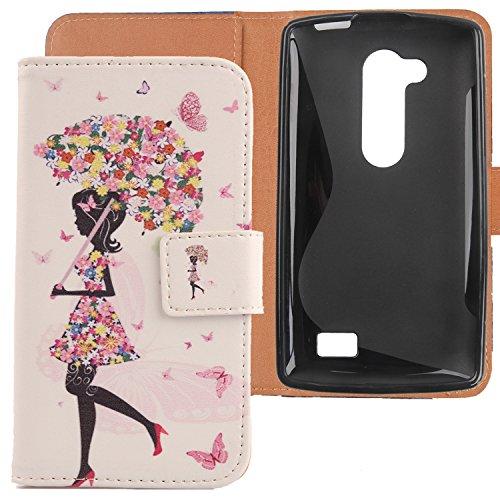 Lankashi PU Flip Leder Tasche Hülle Case Cover Handytasche Schutzhülle Etui Skin Für LG L Fino Dual D295 D290N Umbrella Girl Design