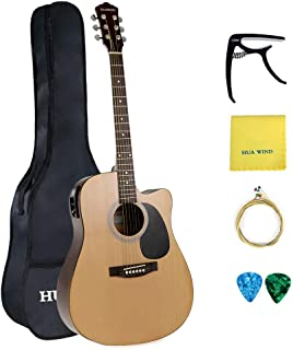 HUAWIND Acoustic Electric Guitar 41in Full Size Natural Acoustic Cutaway Guitar + 5 Band EQ with Gig Bag, Capo, String, Picks, Polishing Cloth