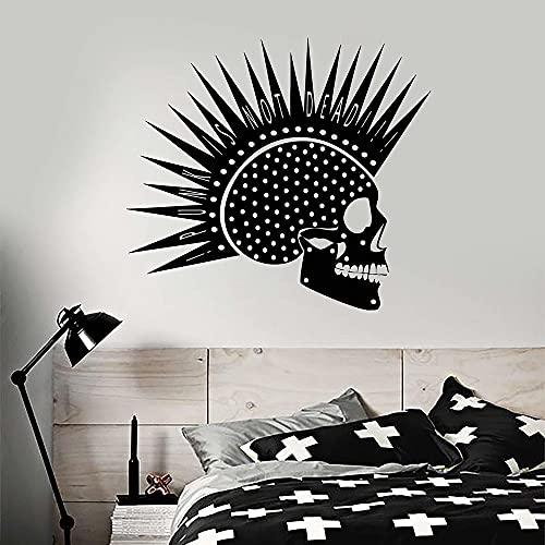 Boezhl Punk Rock Music Skull Mohawk Hairstyle Vinyl Wall Sticker Decal Home Decorative Art Mural 87x97cm