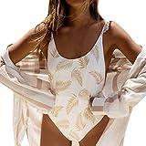 Bikinis Mujer 2019 SHOBDW Traje de Baño Mujer Una Pieza Vintage Bañadores de Mujer Push Up Bikinis Monokini Sexy Floral Ruffle Bañador Espalda Descubierta(Blanco,L)