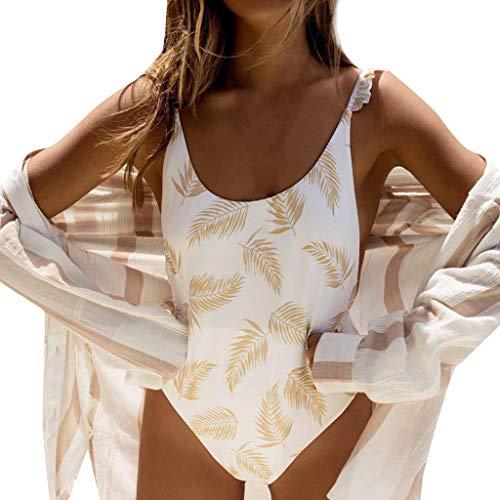 Bikinis Mujer 2020 SHOBDW Traje de Baño Mujer Una Pieza Vintage Bañadores de Mujer Push Up Bikinis Monokini Sexy Floral Ruffle Bañador Espalda Descubierta