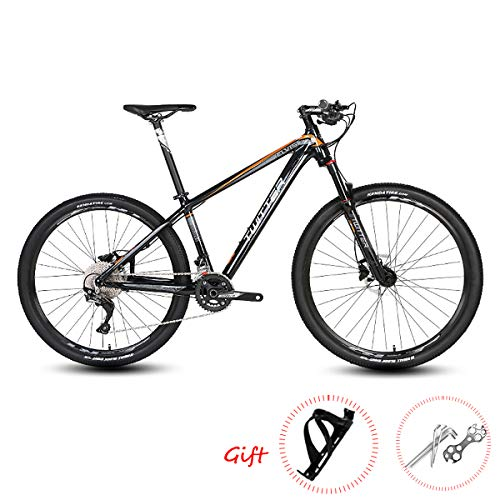 PXQ Bicicleta de montaña 27.5/26Inch Adultos 33 velocidades Freno de Disco Apagado-Bicicleta de Carretera con Amortiguador, aleación de Aluminio suspensión Tenedor Bicicletas,Black1,27.5 * 15.5