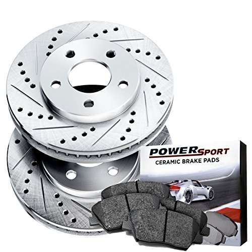 Power Sport Cross Drilled Slotted Brake Rotors and Ceramic Brake Pads Kit -80837 [FRONTS]