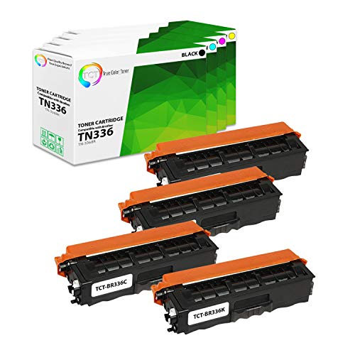 TCT Premium Compatible Toner Cartridge Replacement for Brother TN-336 TN336BK TN336C TN336M TN336Y Works with Brother HL-L8250CDN, MFC-L8600CDW Printers (Black, Cyan, Magenta, Yellow) - 4 Pack