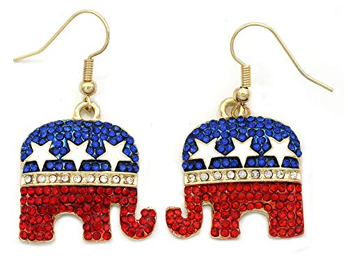 cocojewelry GOP Republican Party Elephant 4th of July American Flag Color Dangle Hook Earrings