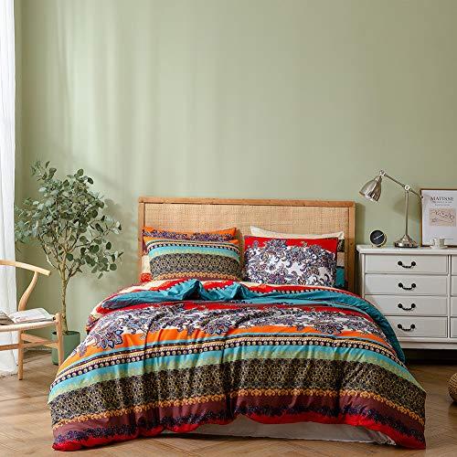 Juego de funda nórdica bohemia con diseño de mandala, juego de cama doble, funda de edredón floral, funda de edredón ligera, 1 funda de edredón y 1 funda de almohada