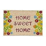 Relaxdays Felpudo de Coco con Texto en inglés Home Sweet Home 40 x 60 Multicolor con Base Antideslizante de PVC para atrapar la Suciedad y el Camino Limpio de Flores, Color marrón