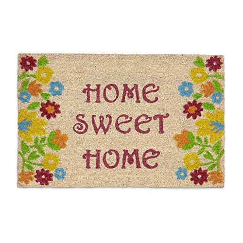 Relaxdays Fußmatte Kokos Spruch HOME SWEET HOME 40 x 60 bunte Kokosmatte mit rutschfester PVC Unterlage Fußabtreter aus Kokosfaser als Schmutzfangmatte und Sauberlaufmatte Blumen Türvorleger, braun