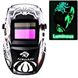 JSungo Welding Helmet Solar Powered, Luminous Auto Darkening Weld Hood with An Extra Clear Lens, Variable Shade Range 4/9-13 for TIG MIG Arc Welder Mask (Spider)