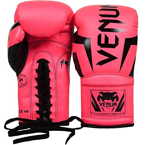 Venum Elite Boxing Gloves with Laces, Neo Pink, 14-Ounce