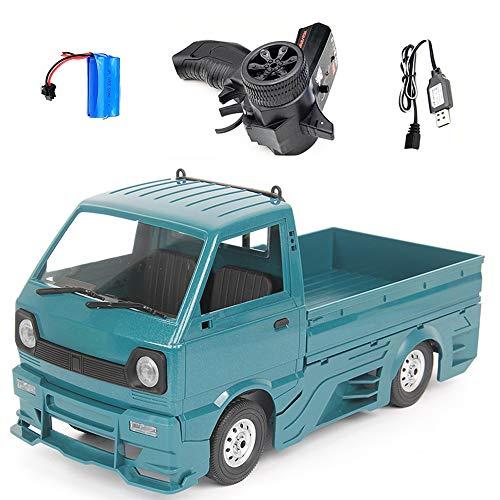 Camión teledirigido D12 1/10 2.4G 2WD Mini Cargo Truck, Crawler Off Road RC Car Model juguete con gran Surrounded & Blow Vent Azul