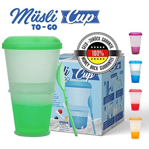 KitchnPro Muesli to Go beker met melk-koelvak & lepel, mueslibeker, yoghurthouder, thermobeker, mueslidoos