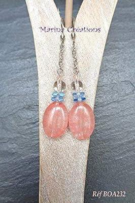 Boucles d'oreilles jade rose corail et cristal de roche, crochets acier inoxydable, rondelles bleues