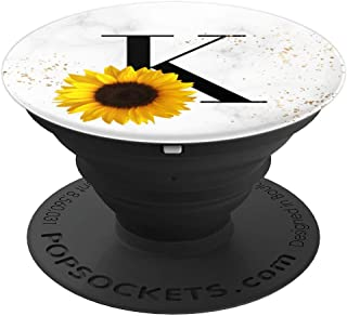 Sunflower Yellow Flower Floral over White Monogram Letter K PopSockets Grip and Stand for Phones and Tablets