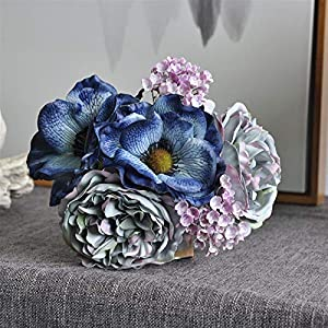 Fake Flower Nordic Peony Bouquet Anemone Wedding Bridal Bouquet Silk Artificial Flowers DIY Scrapbook Flores Artificiales Room Decor Artificial Roses Flower