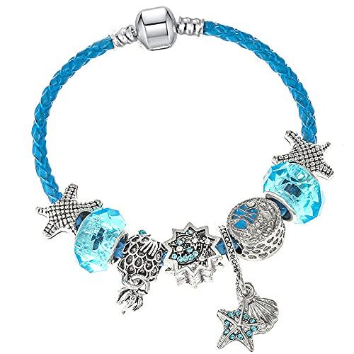 YFZCLYZAXET Pulseras Brazalete Joyería Mujer Pulsera De Cuero con Colgante para Mujer, Pulsera Fina, Jewelry-Blue_1_18_Cm
