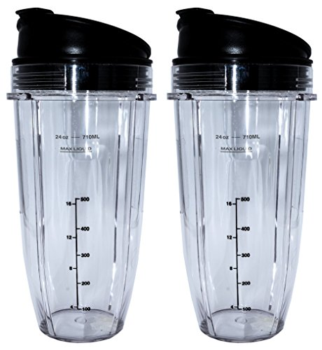 Blendin Replacement Jar with Sip N Seal Lid, Compatible with Nutri Ninja Auto IQ and Duo Blenders (2, 24 Ounce)