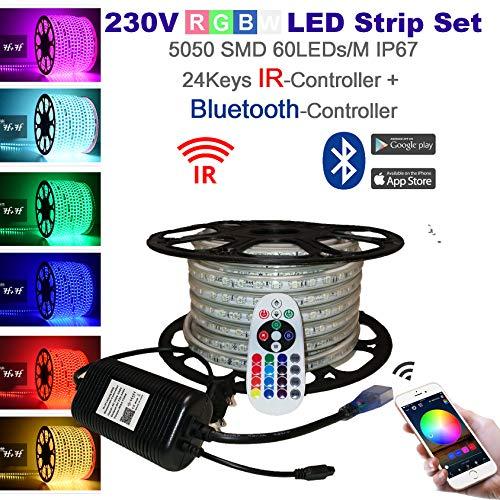 25 Meter H+H Leipzig 230V 5050 SMD 60LEDs/M IP67 Mehrfarbig RGB LED Strip Streifen Lichtband Lichtleiste Lichtschlauch mit Bluetooth + Infrarot Netzteil Controller Fernbedienung