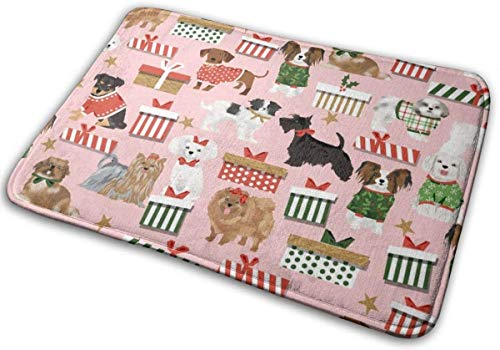"Cute Dogs Best Christmas Dog Fabric Cute Dog Designs Best Dogs Cute Dogs Fabrics Toy Dog Breeds Floor Bath Entrance Rug Mat Absorbent Indoor Bathroom Decor Doormats Rubber Non Slip 15.7"" X 23.5"""