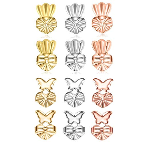 TQsuen Original Magic Earring Lifters, 6 Pairs Magic Backs for Earrings Adjustable Secure Earring Lifts Safety Drooping Earring Backs for Ear Lobe Lifter (2 Silver/ 2 Gold/ 2 Rose Gold) Style 3