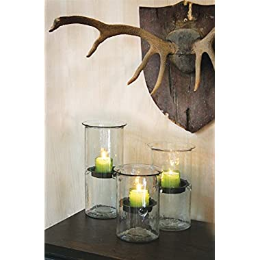 8  Glass Candle Cylinder With Rustic Insert