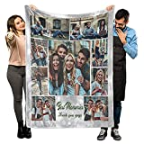 Personalized Customized Throw Blankets with Pet Picture and Text for Lover and Best Friends, Flannel Throw Blanket with Photo as a Birthday Gift. (9 Photos, 40'X 50'(100X130cm))