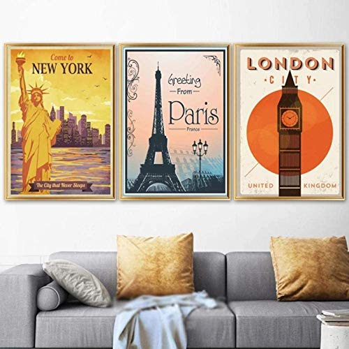 FGHSD Stampe per pareti Parigi New York Londra Poster Vintage Pittura Poster nordici e Stampe Immagini a Parete per Soggiorno Decor 3x20x30cm Senza Cornice