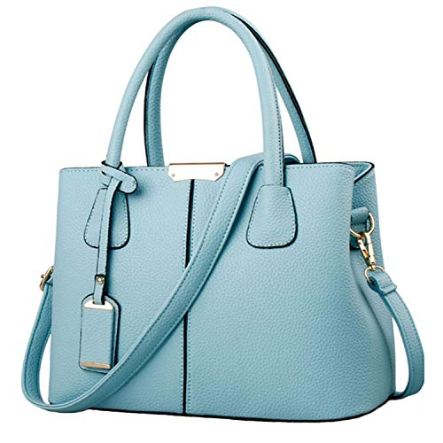 FiveloveTwo Dame Classy Satchel Handtasche Tote Handtasche Griff Tasche Umhängetasche Hellblau