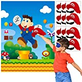ANGOLIO Mario Pin The Tail Games Mario Brothers Party Supplies Pin Hats & Moustache on The Mario Poster Birthday Collection Outdoor Favor Background Game Accessories for Kids (Includes 2 Blindfolds)