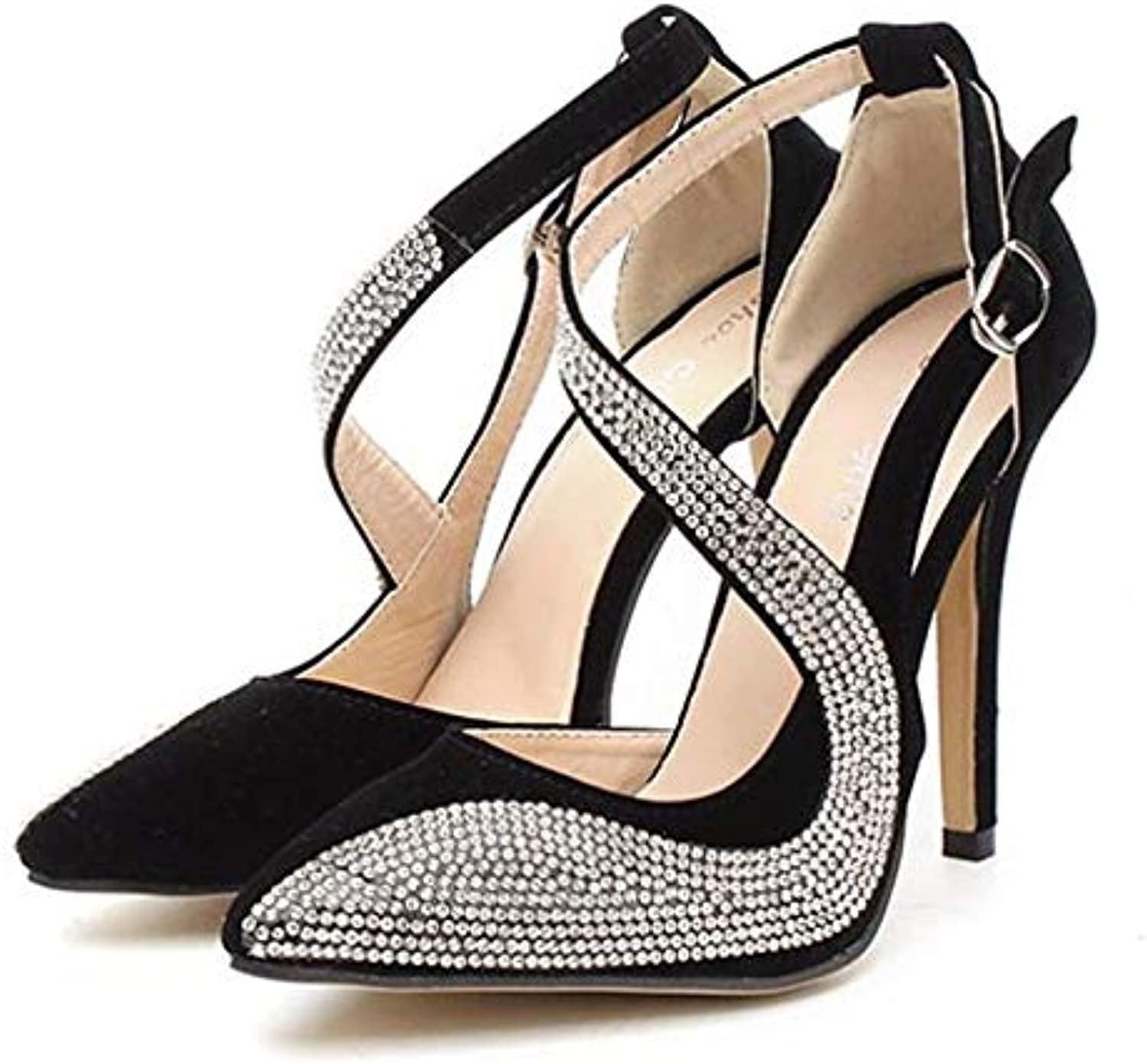 Bvilage High-Heeled Sweet Pointed High-Heeled shoes with Fine Rhinestones for Women