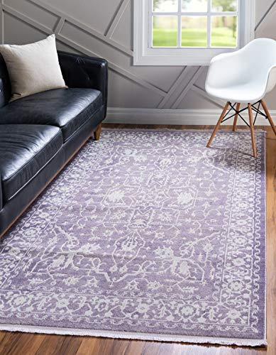 Unique Loom New Classical Collection Traditional Distressed Vintage Classic Purple Area Rug (8' x 11')