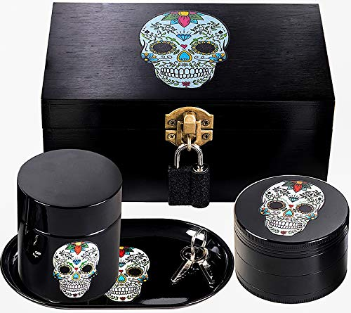 Sugar Skull Premium Stash Box Combo - Includes Ultra Strong Metal Pad Lock and Keys, Skull Grinder, Rolling Tray, 2 Bags, Skull Jar - Stash Container with Accessories (Day of the Dead)