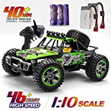 RC Cars 1:10 Scale Large High Speed Remote Control Car for Adults Kids Boys, 46+ kmh 4WD 2.4GHz Off Road Monster Truck Toys, All Terrain Electric Vehicle Boy Gifts with 2 Batteries for 40+ Min Play