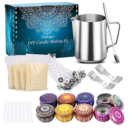 Funxim Kerzenherstellung Kit, DIY Kerzen Handwerk Werkzeuge mit Kerzendosen, Candle Making Gießtopf und Löffel, Candle Dochte, Dochte Aufkleber, Candle Dochte Halter und Bienenwachs